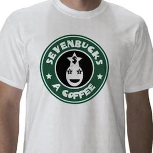 Starbucks parody Sevenbucks a coffee t-shirt