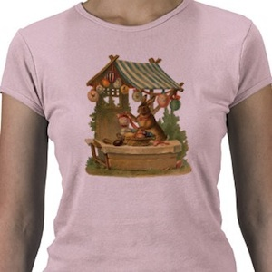 The Easter Bunny shopping for easter eggs on this vintage tshirt
