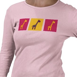 giraffe but then 3 on this colorful t-shirt