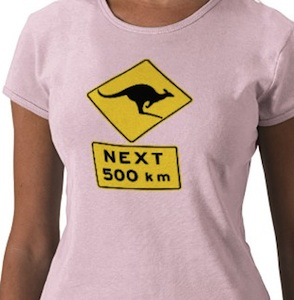 Watch out kangaroo's could be crossing the road for the next 500 km