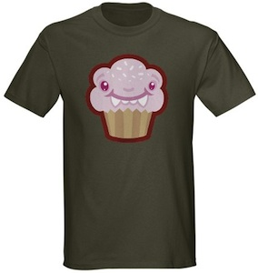 A monster cupcake on this t-shirt