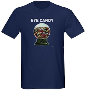 Gum ball machine full of eyes making it eye candy on this t-shirt