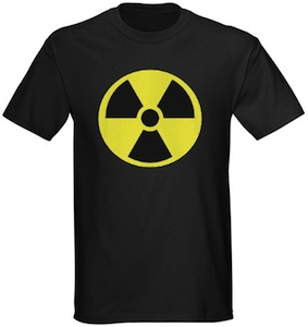 A radiactive t-shirt with the symbol of radiation