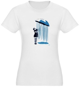 A girl making it rain under her umbrella on this weather girl t-shirt
