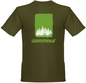 Support Greenpeace by wearing this green tree t-shirt
