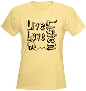 Live Love Listen t-shirt with headphones