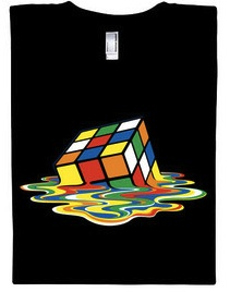Black t-shirt with a melting rubik's cube on it