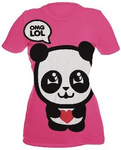 Pink Panda T-Shirt with OMG LOL on it to