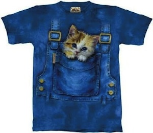kitty in overalls t-shirt