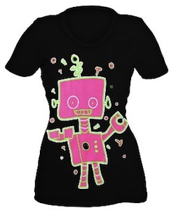 Girly neon robot t-shirt with a cute robot on it