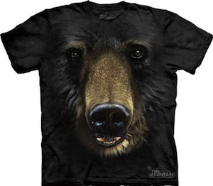 The face off a black bear on this t-shirt