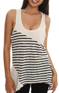 Black and white lined tank top for women
