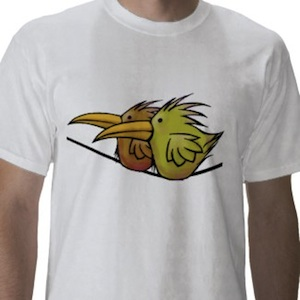 two little birds on a wire a cute t-shirt