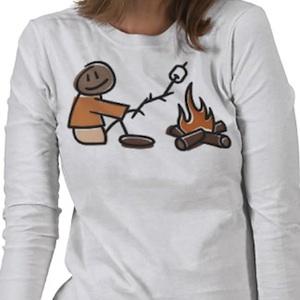 Camping t-shirt that shows roasting marshmallows