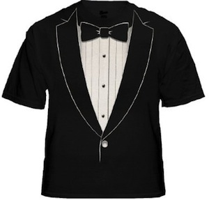 Black tie t-shirt looks just like a real tuxedo