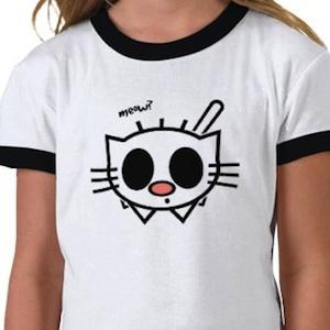 Cute cat drawn on a t-shirt