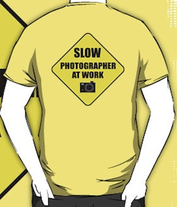 Slow Photographer at work road sign t-shirt