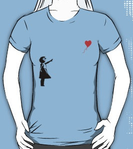 Little Girls with flying balloon t-shirt