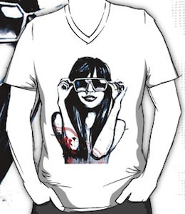 t-shirt with a girl on it