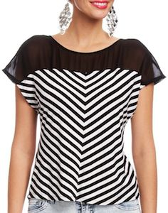 Black And White Striped Top With Button Back
