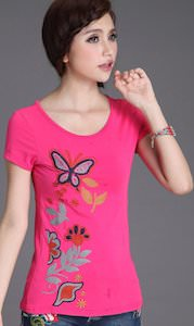 Pink women's Summer Butterfly T-Shirt