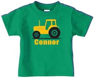 Kids Tractor T-Shirt With Their Name On It