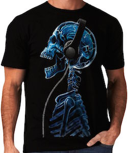 Skeleton DJ With Headphones T-Shirt