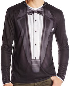 Black Long Sleeve Tuxedo T-Shirt