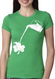 St Patrick's Day Pouring Shamrock Women's T-Shirt