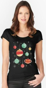 Christmas Planets Women's  Scoop Neck T-Shirt