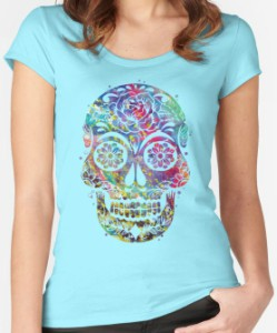 Sugar Skull Water Color Scoop Neck T-Shirt