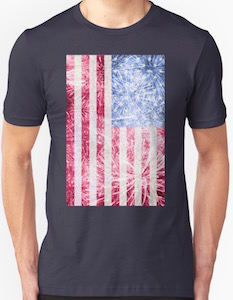 American Flag With Fireworks T-Shirt