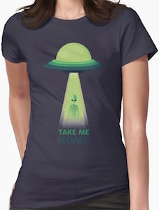 Alien and UFO take me home t-shirt