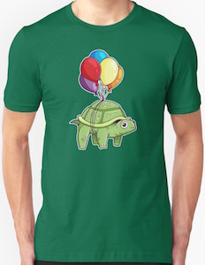 Turtle Flying With Balloons T-Shirt