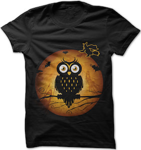 Owl, Bats, Witch And The Moon Halloween T-Shirt