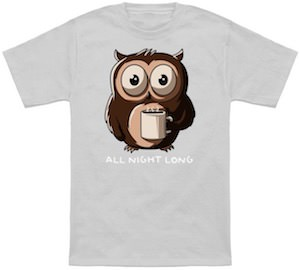 Owl Drinking Coffee T-Shirt