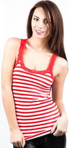 Lace Trim Striped Racer Back Tank Top