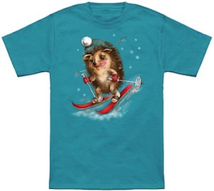 Skiing Hedgehog T-Shirt