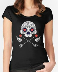 Skull Hearts And Cross Arrows T-Shirt