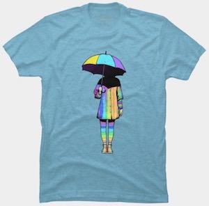 Neon Girl With Umbrella T-Shirt
