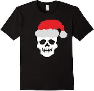 8-Bit Santa Skull T-Shirt