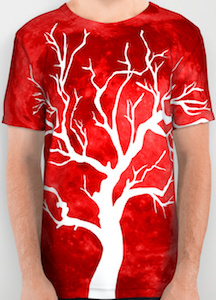 Fire Red T-Shirt With White Tree