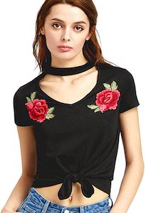 Floral T-Shirt With Unique Choker Neck