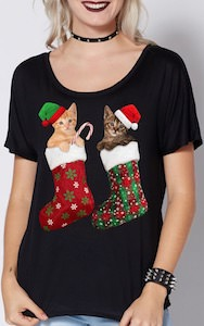 Cats In Stockings Christmas T-Shirt