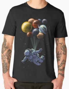 Astronaut Floating With Balloon Planets T-Shirt