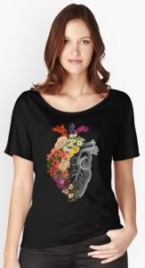 Flower Heart Scoop Neck T-Shirt