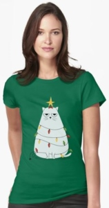 Cat Tangled In Christmas Lights T-Shirt