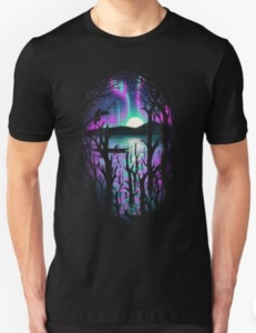Northern Lights And Trees T-Shirt