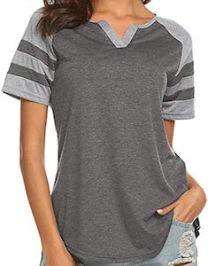 Striped Sleeves And V-Neck T-Shirt