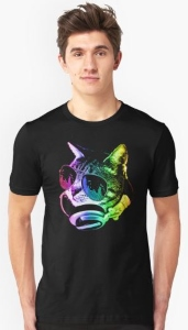 Neon Rainbow Music Cat T-Shirt
